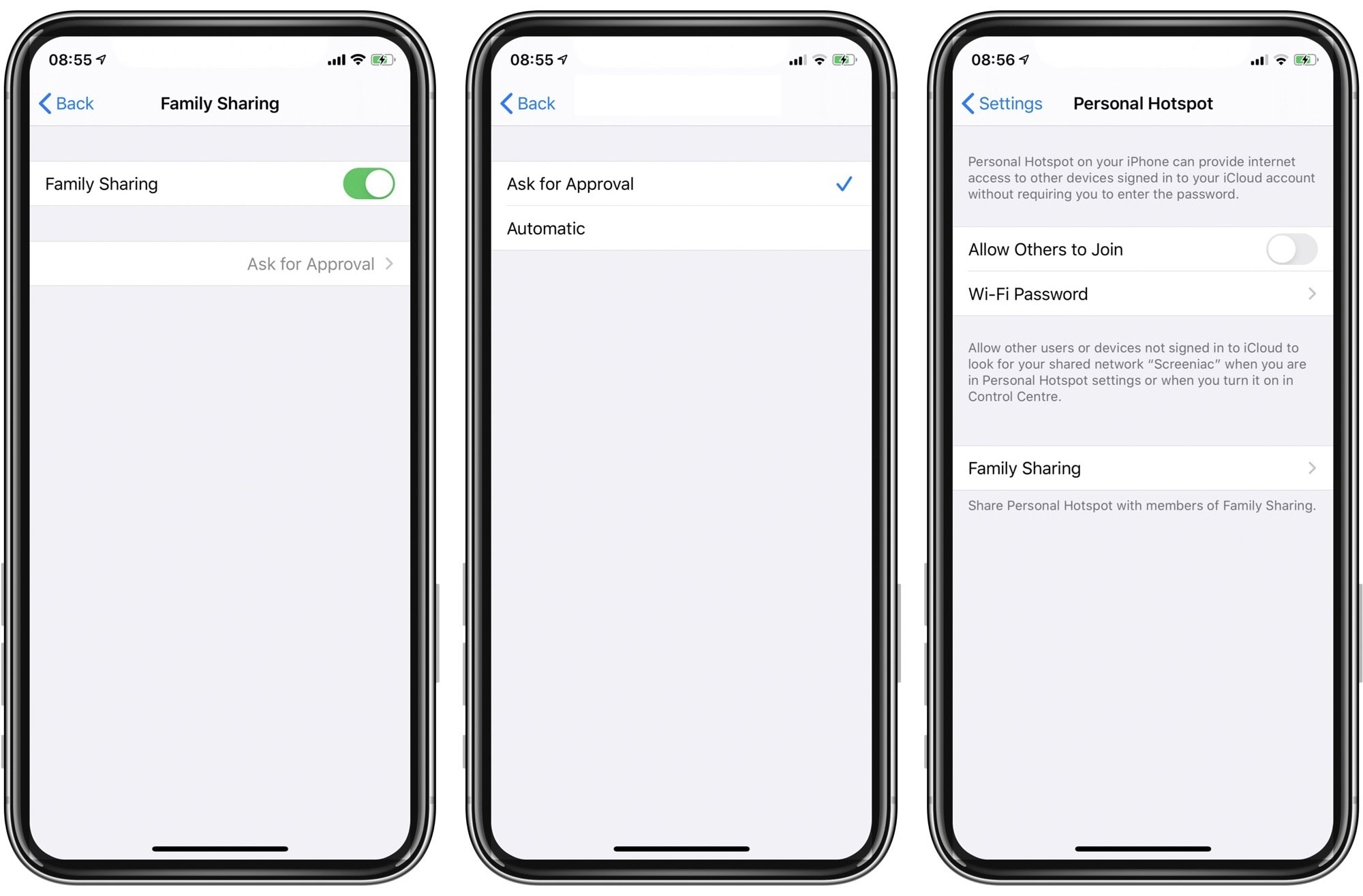 Choose how and when your family members can connect to your iPhone Personal Hotspot in iOS 13.