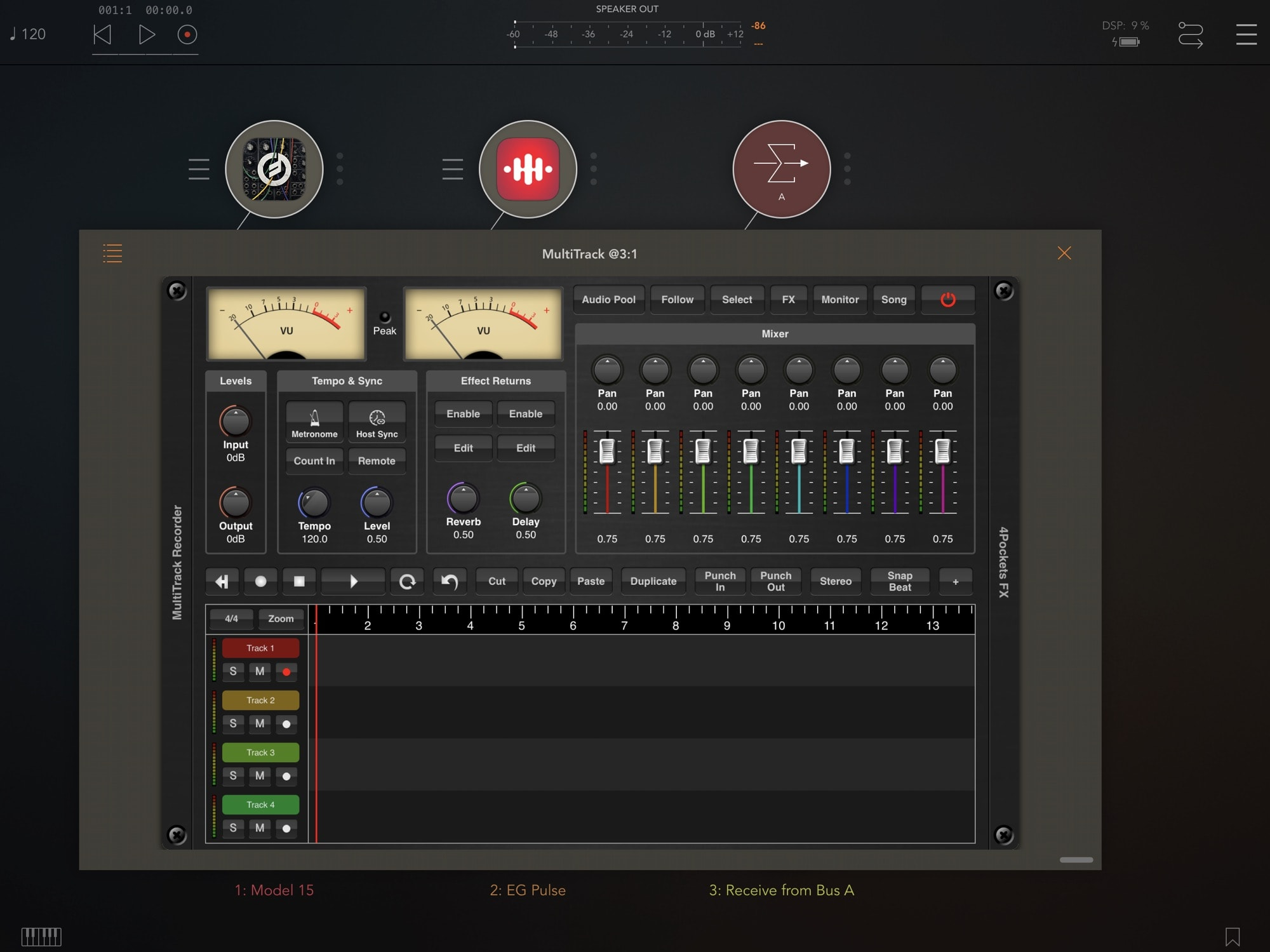 Here's MultiTrack Recorder running in audio mixing app AUM.