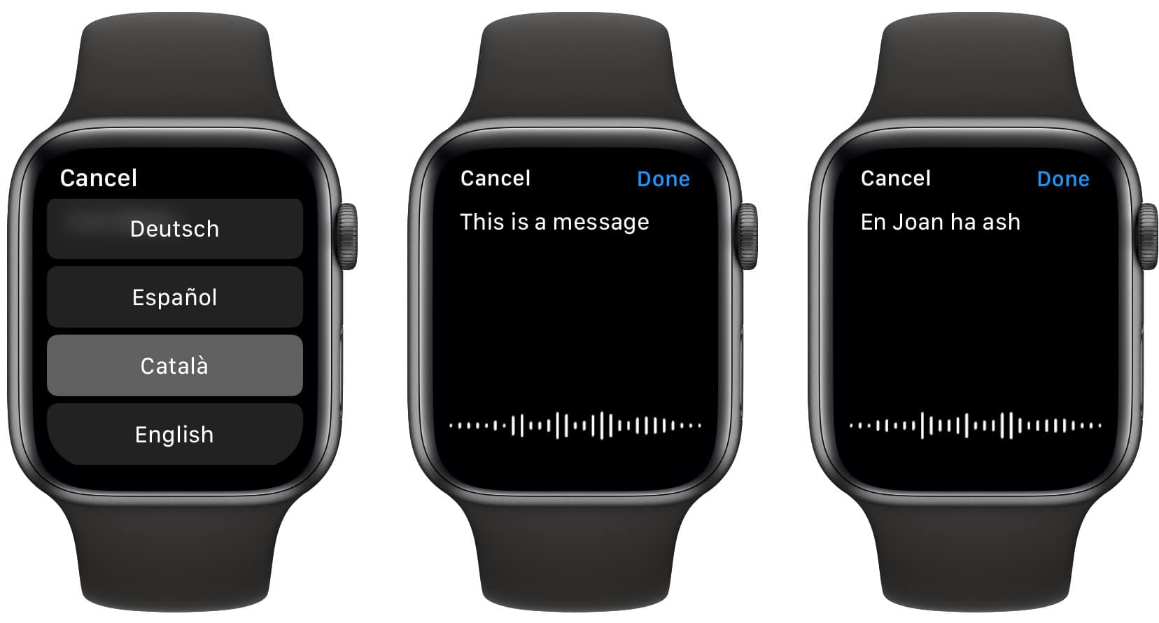 Long-press the Apple Watch dictation screen to get this language-selection menu.