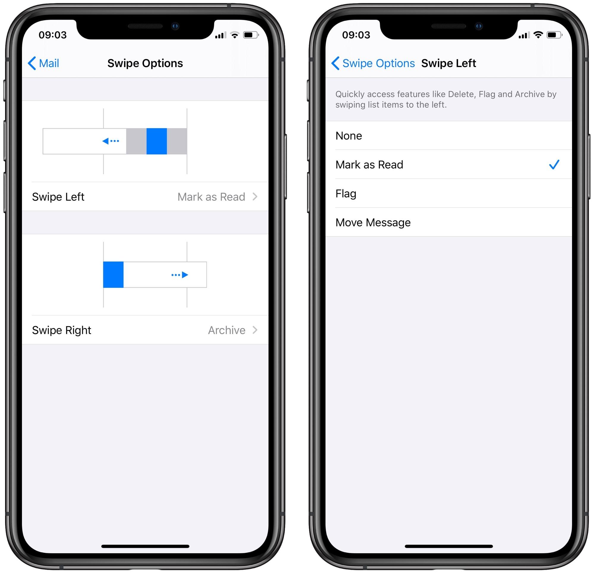 The iOS Mail swipe settings.