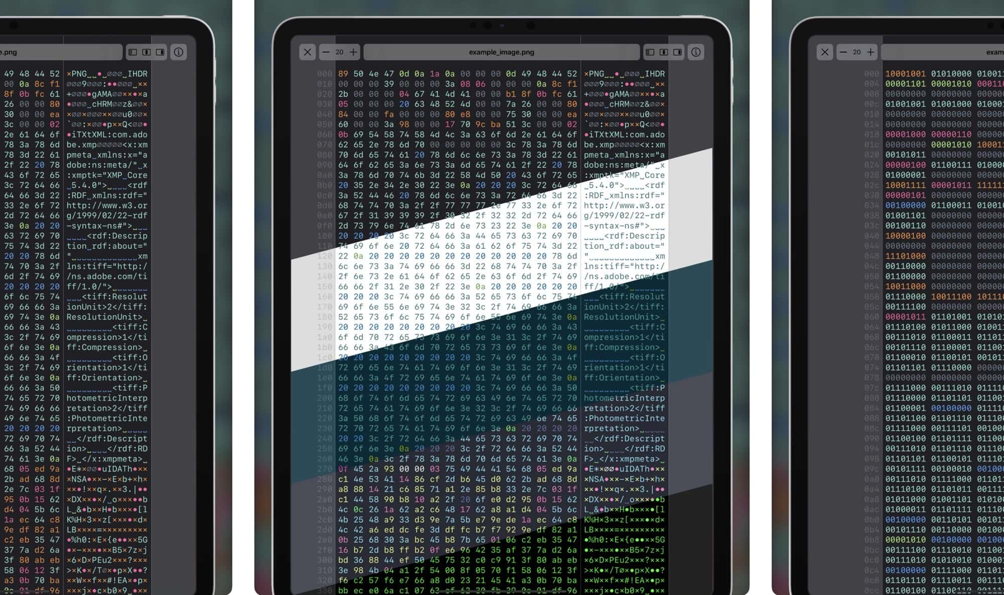 View and edit Hex files with Hexer.