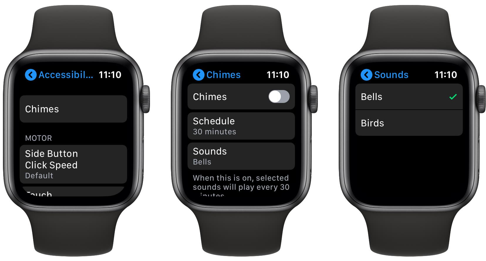 The hourly chime settings on the Apple Watch.