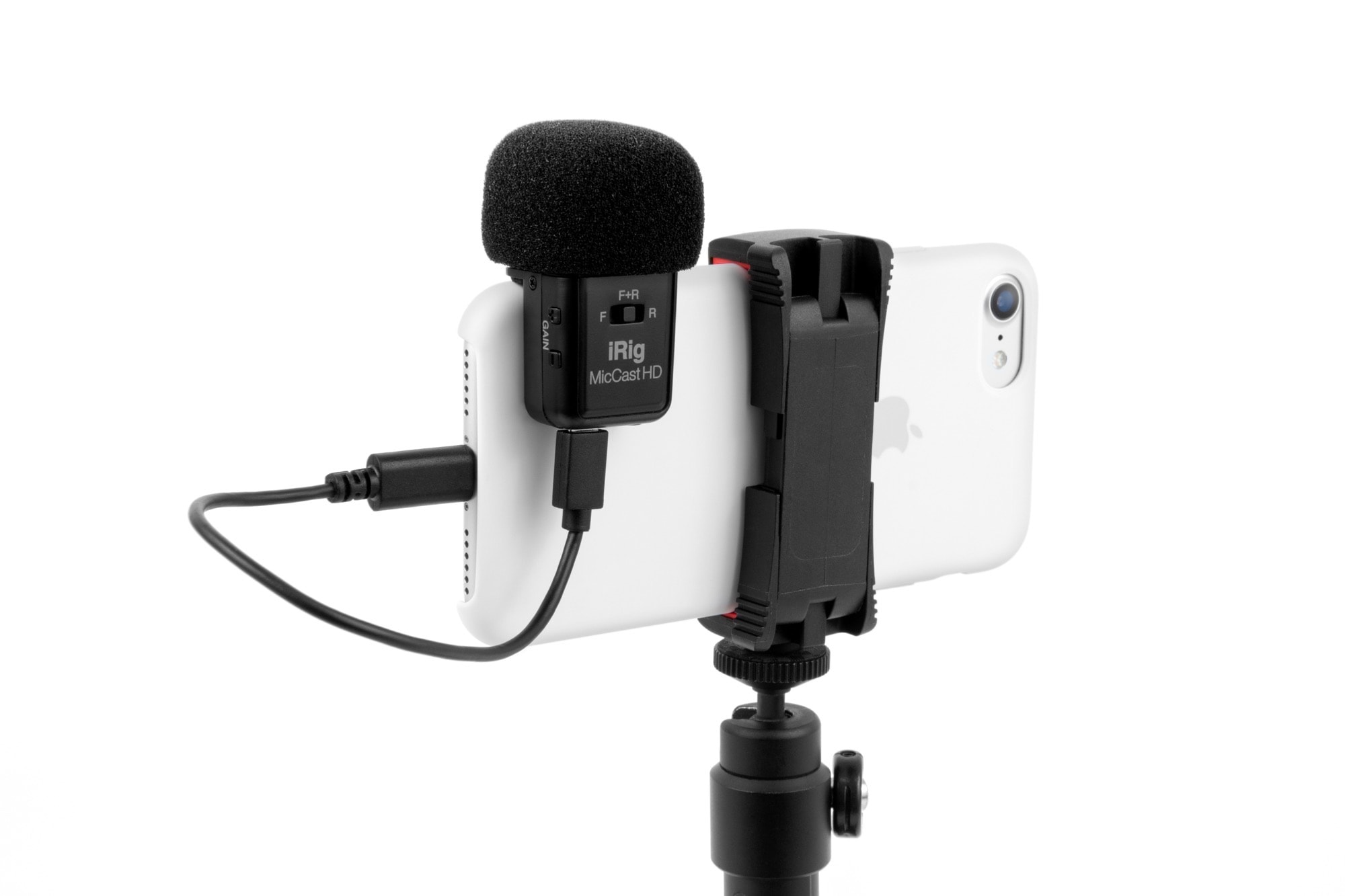 iRig Mic Cast HD is a snap-on, high-quality mic.