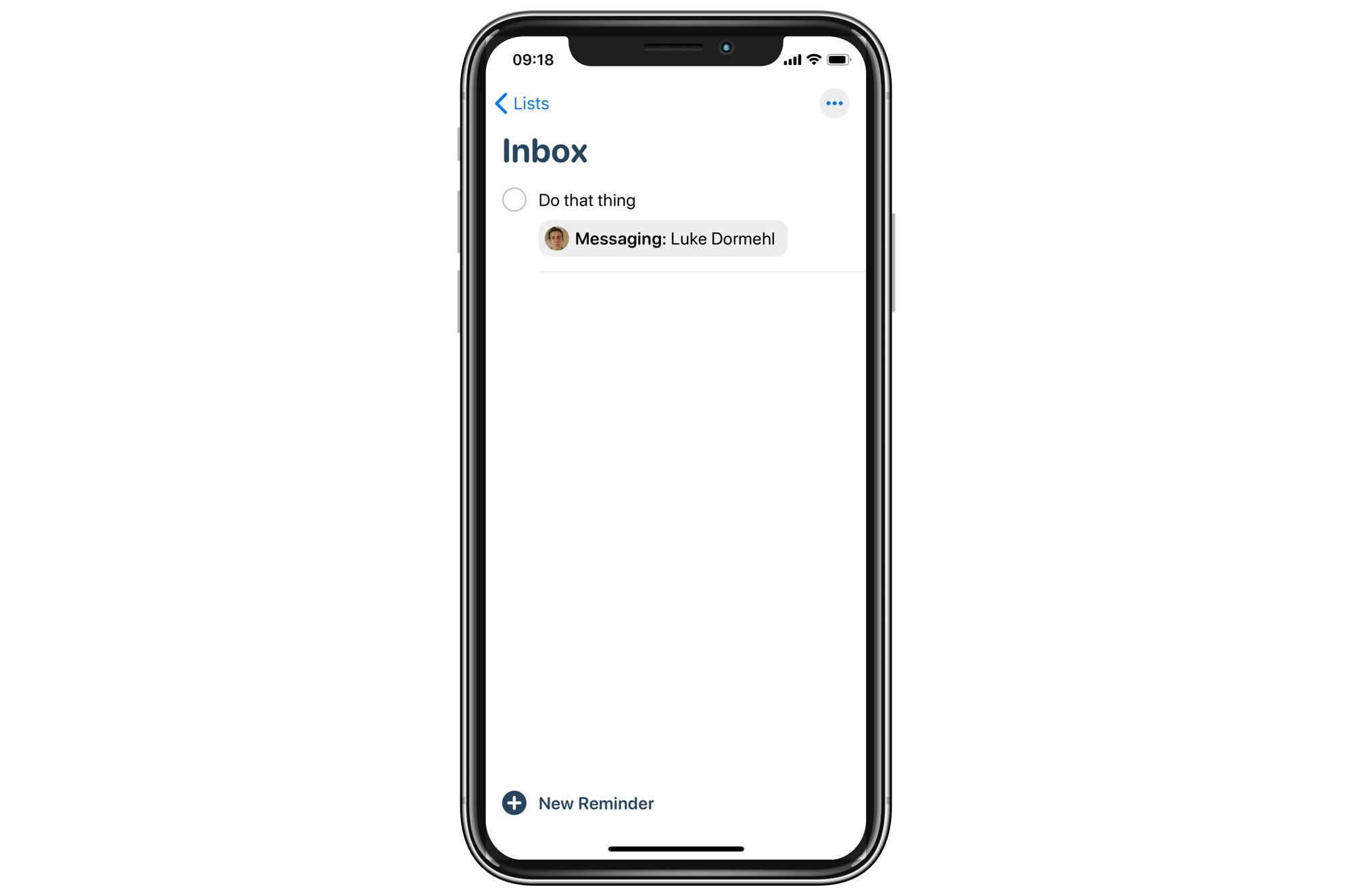 Your reminders lists show attached contacts.