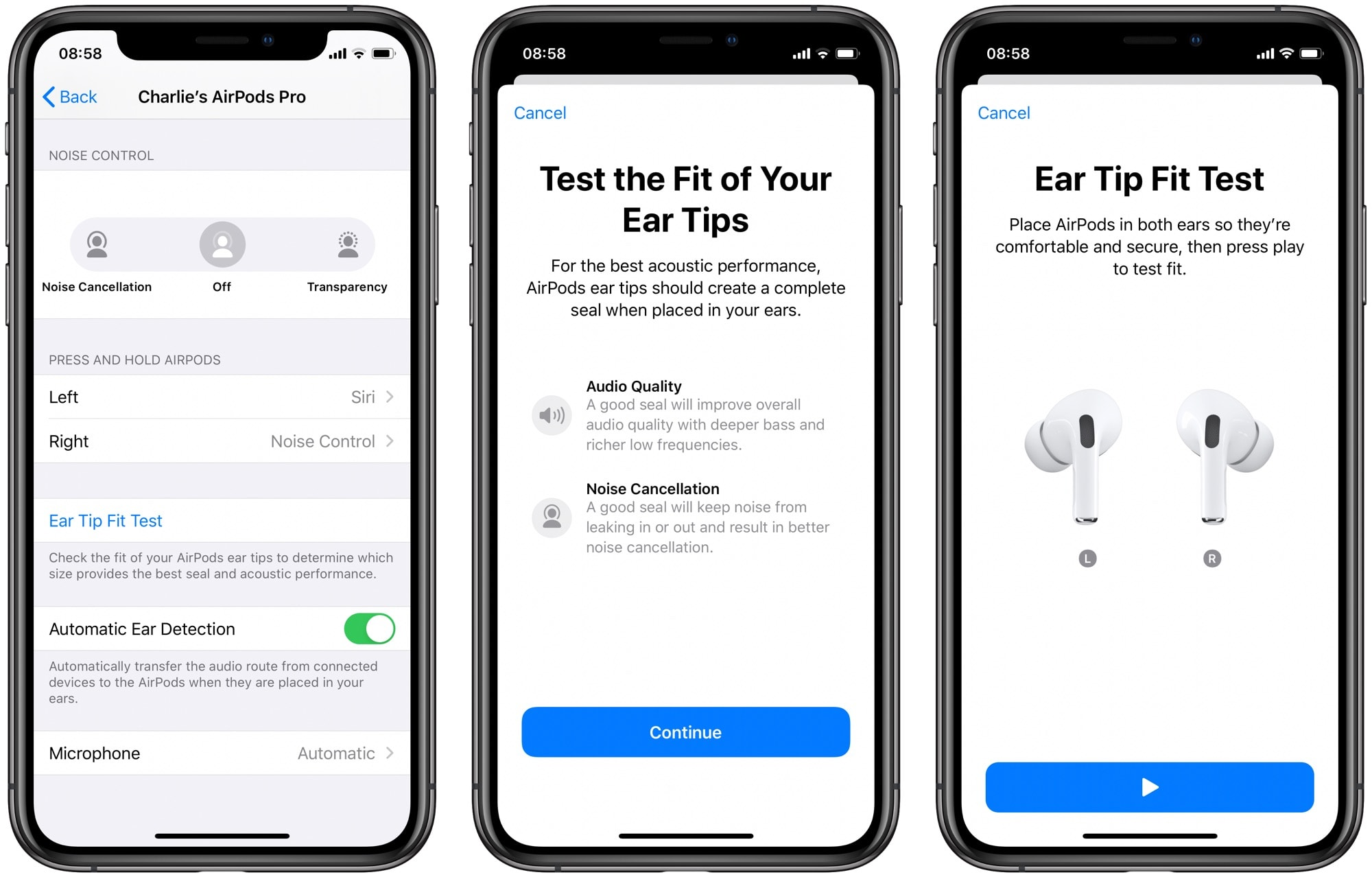 Image result for airpods pro ear tip fit test