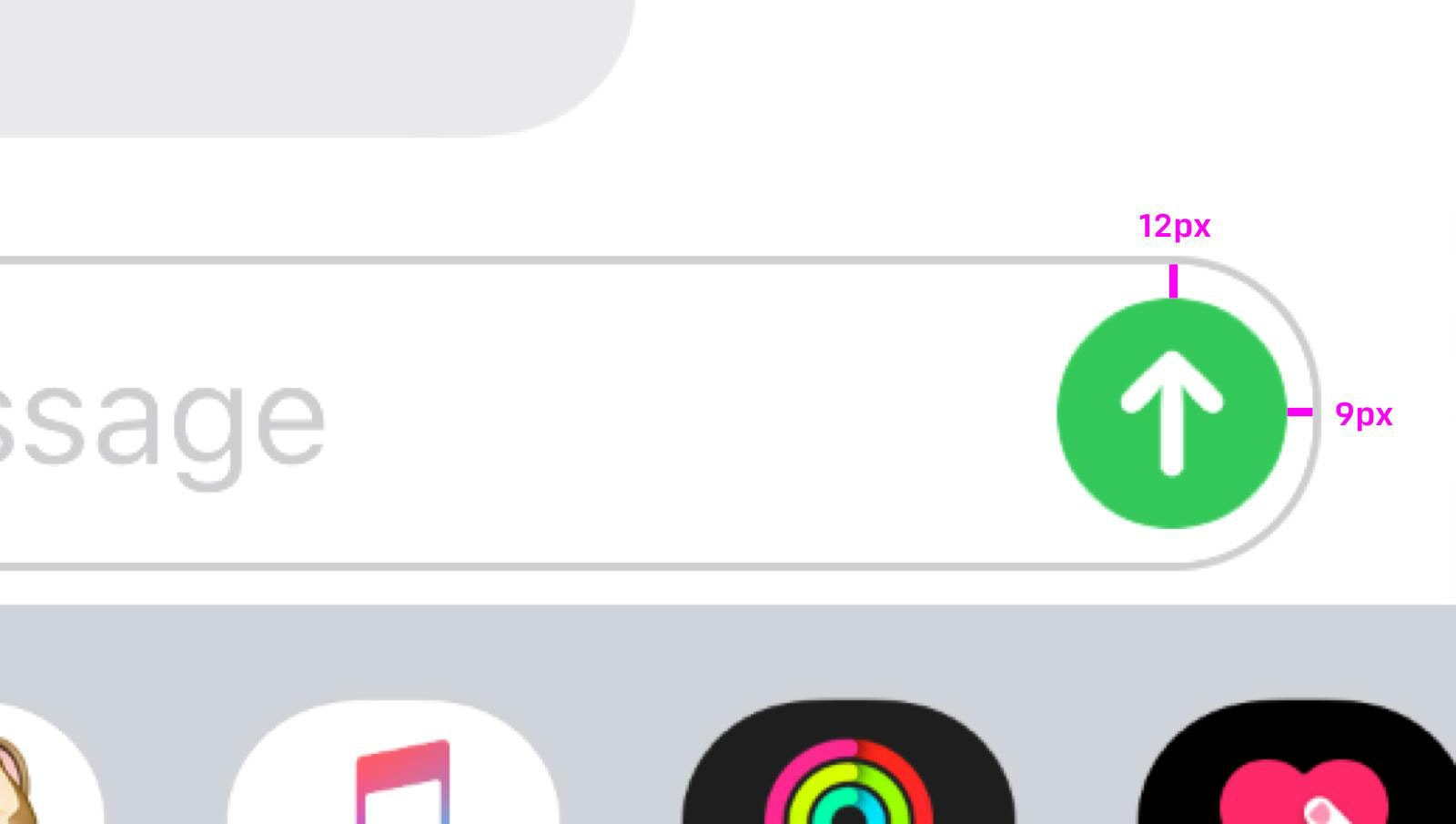 the send key on messaging is off by a few pixels
