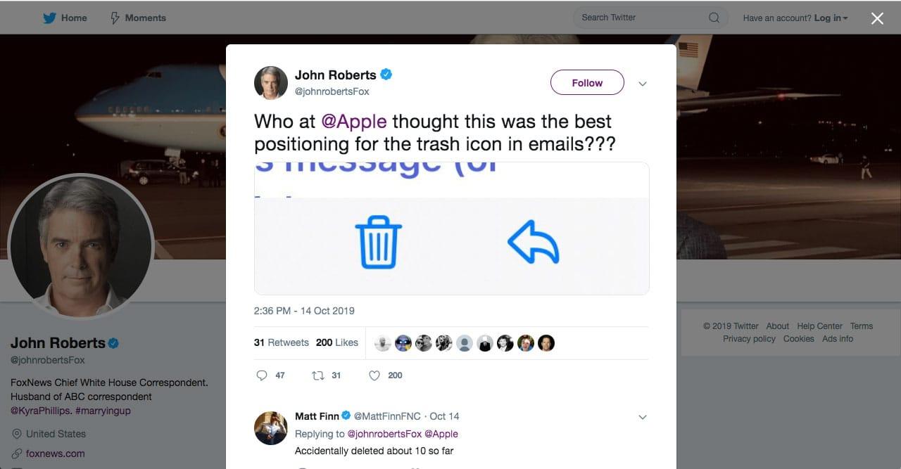 Tweet regading iOS 13 tweak that moved trash can