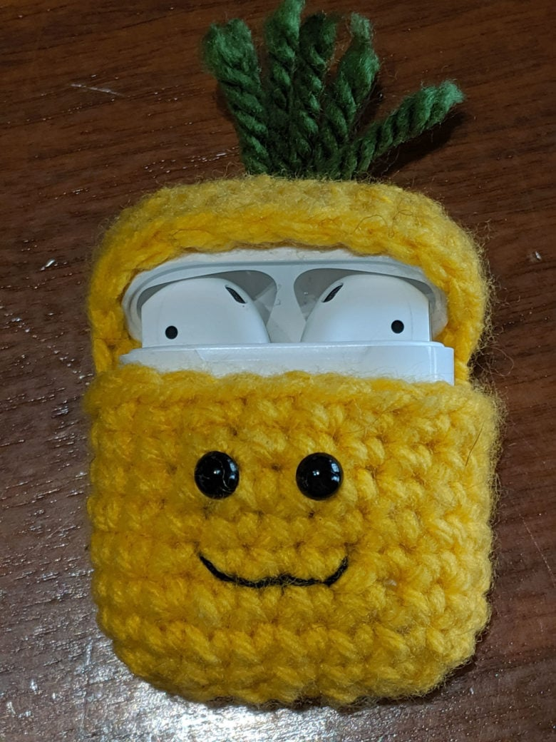 This crochet AirPods cover looks like a pineapple