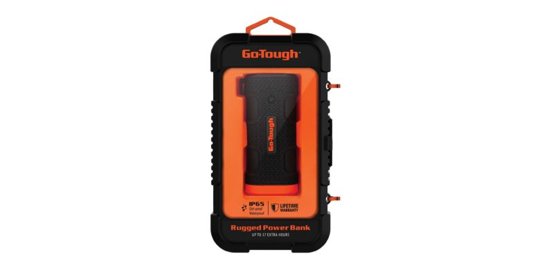 The Go-Tough Power Bank is built to take anything you throw at it, and even includes an LED flashlight for emergencies