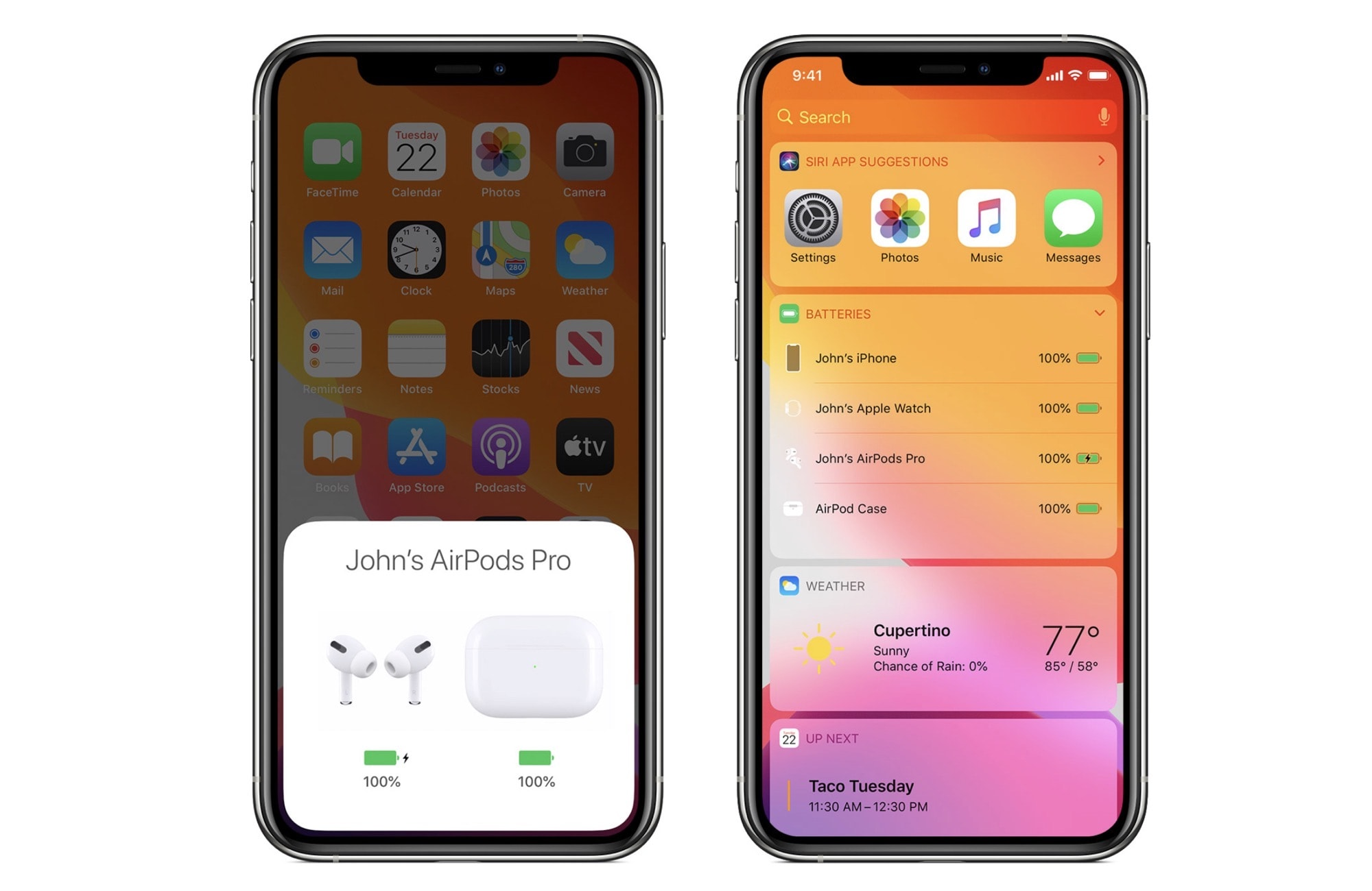Check AirPods Pro battery levels from the iPhone.