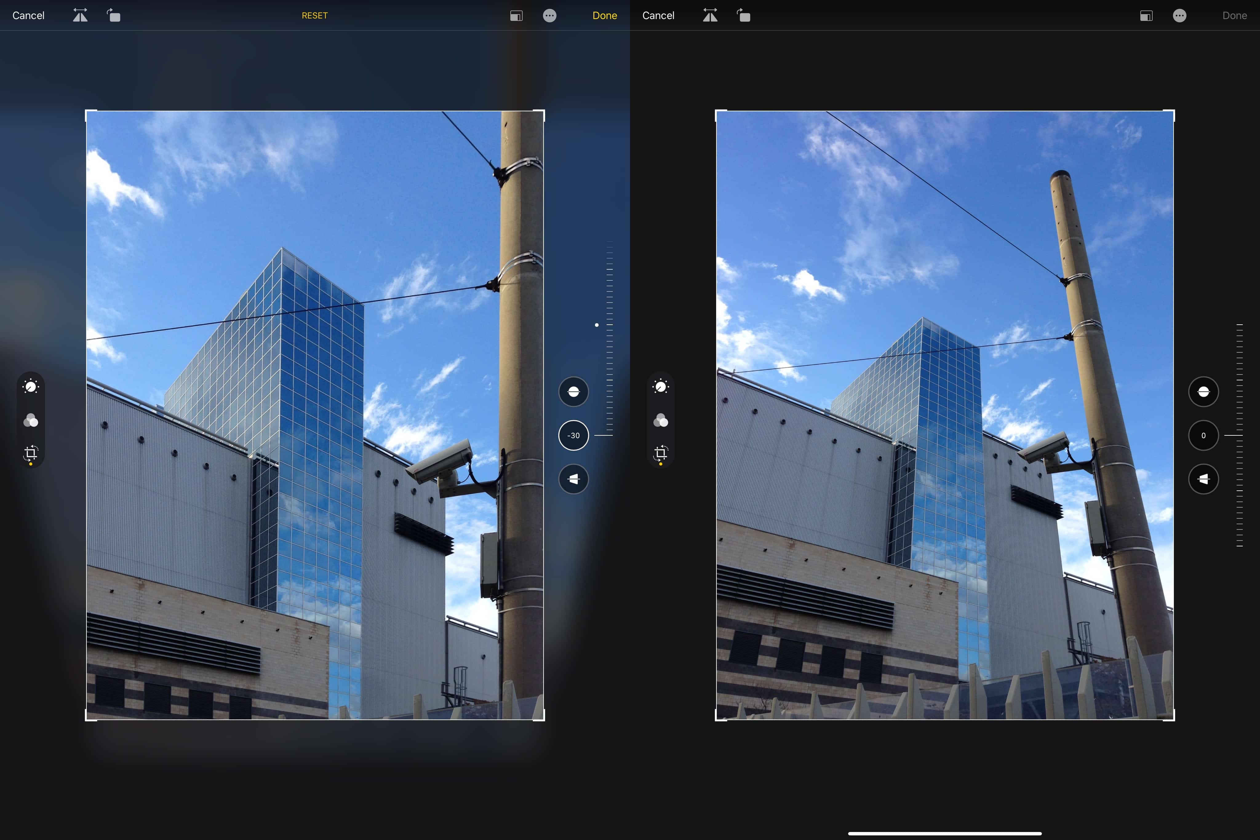 Skewing image in iOS: After and before.