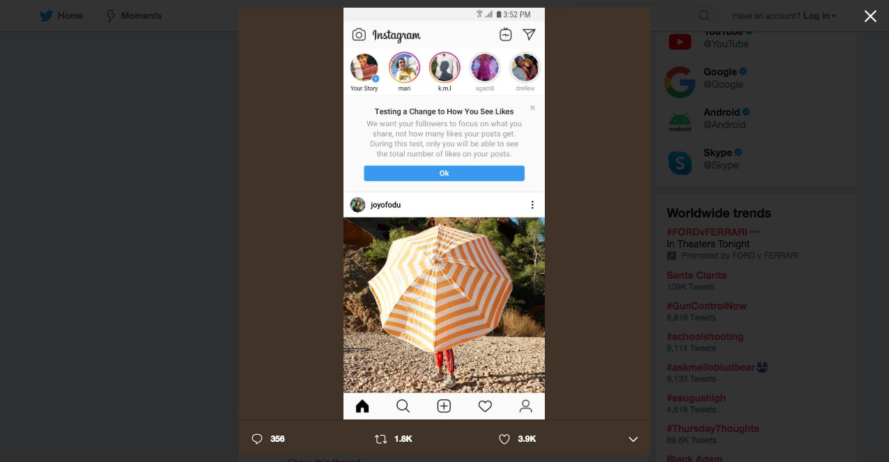 Instagram's Twitter announcement on hiding likes