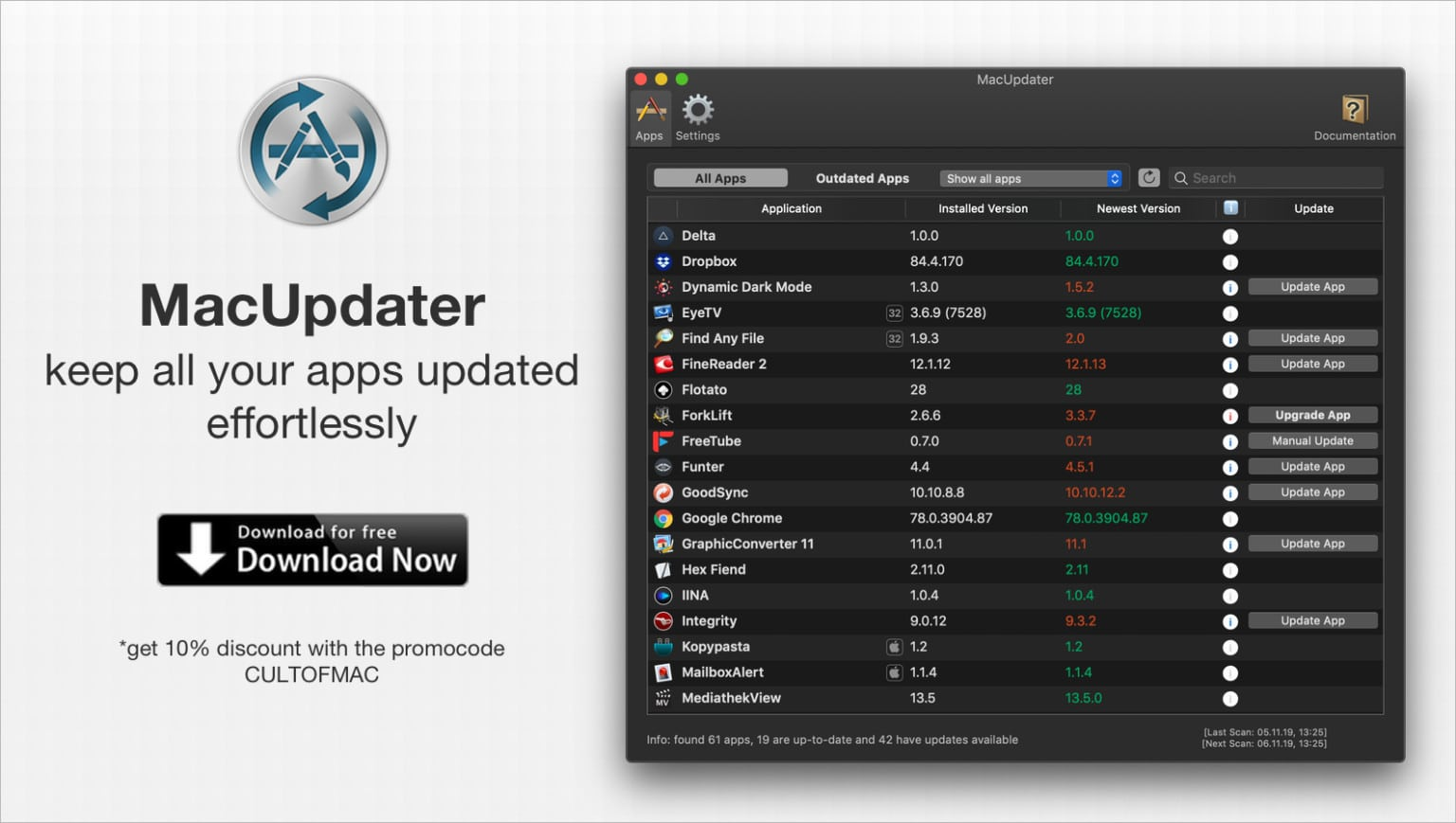 Keep on top of Mac app updates the easy way with MacUpdater.