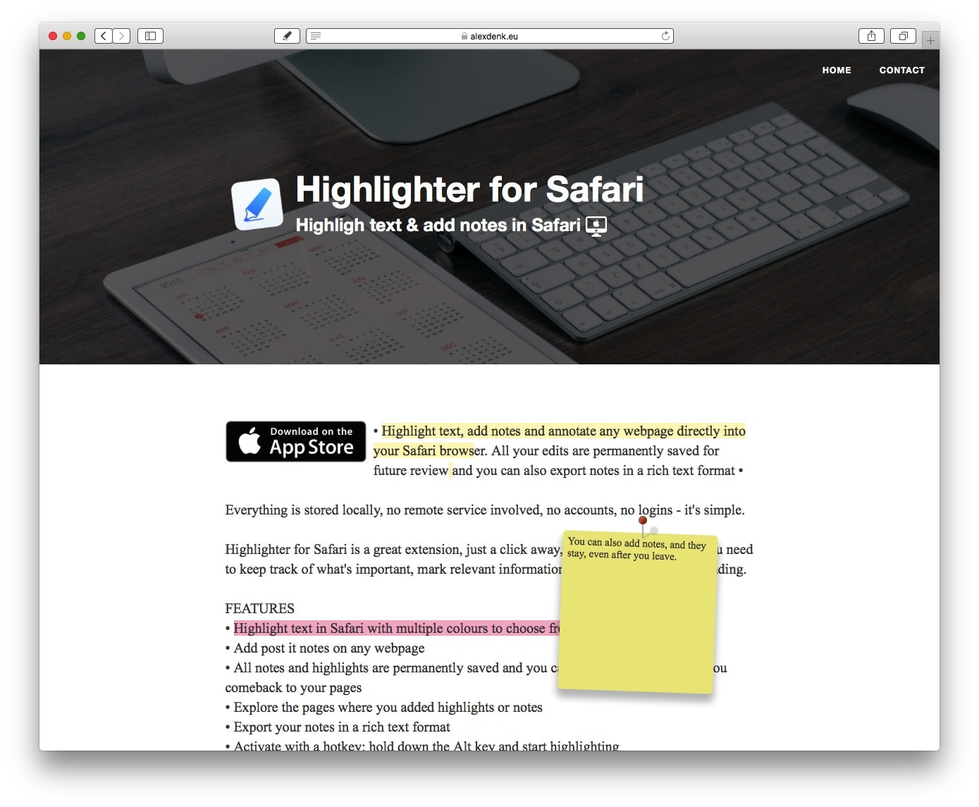 With Highlighter for Safari, highlighting a web page is easy and effective.