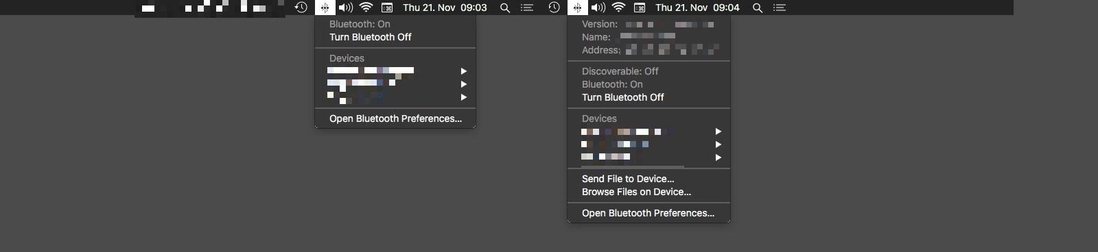 The hidden Bluetooth Mac status menu options.