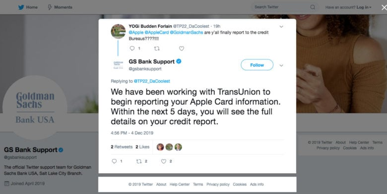 Goldman Sachs response