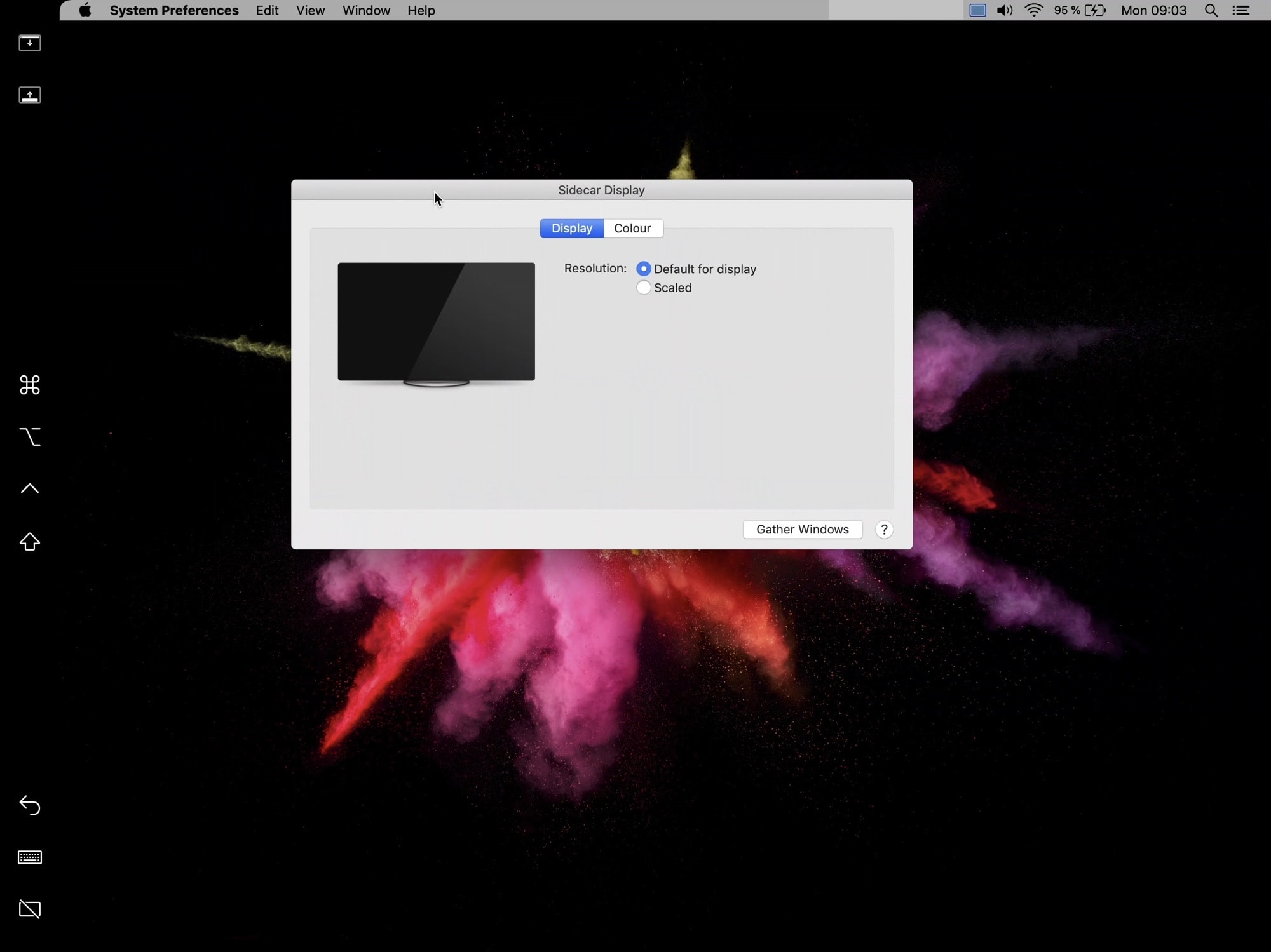 The Mac's Display Preferences, on the iPad.