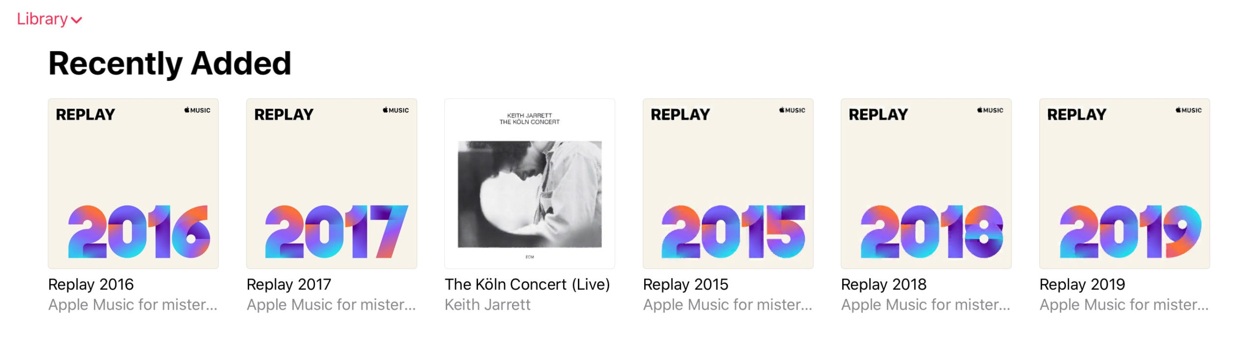 Playlists stretching back to 2015.