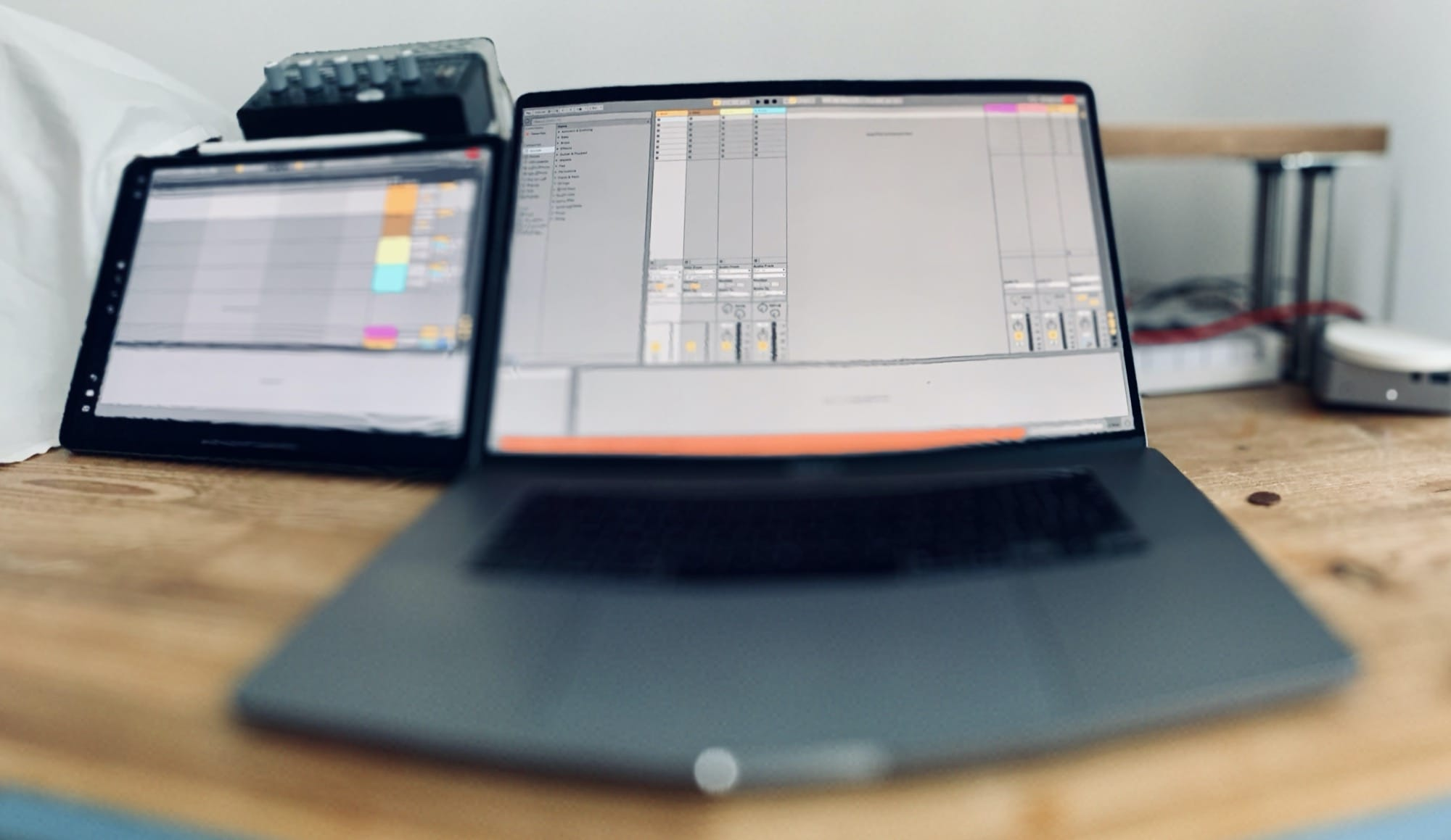 Ableton on a Mac and iPad, simultaneously.