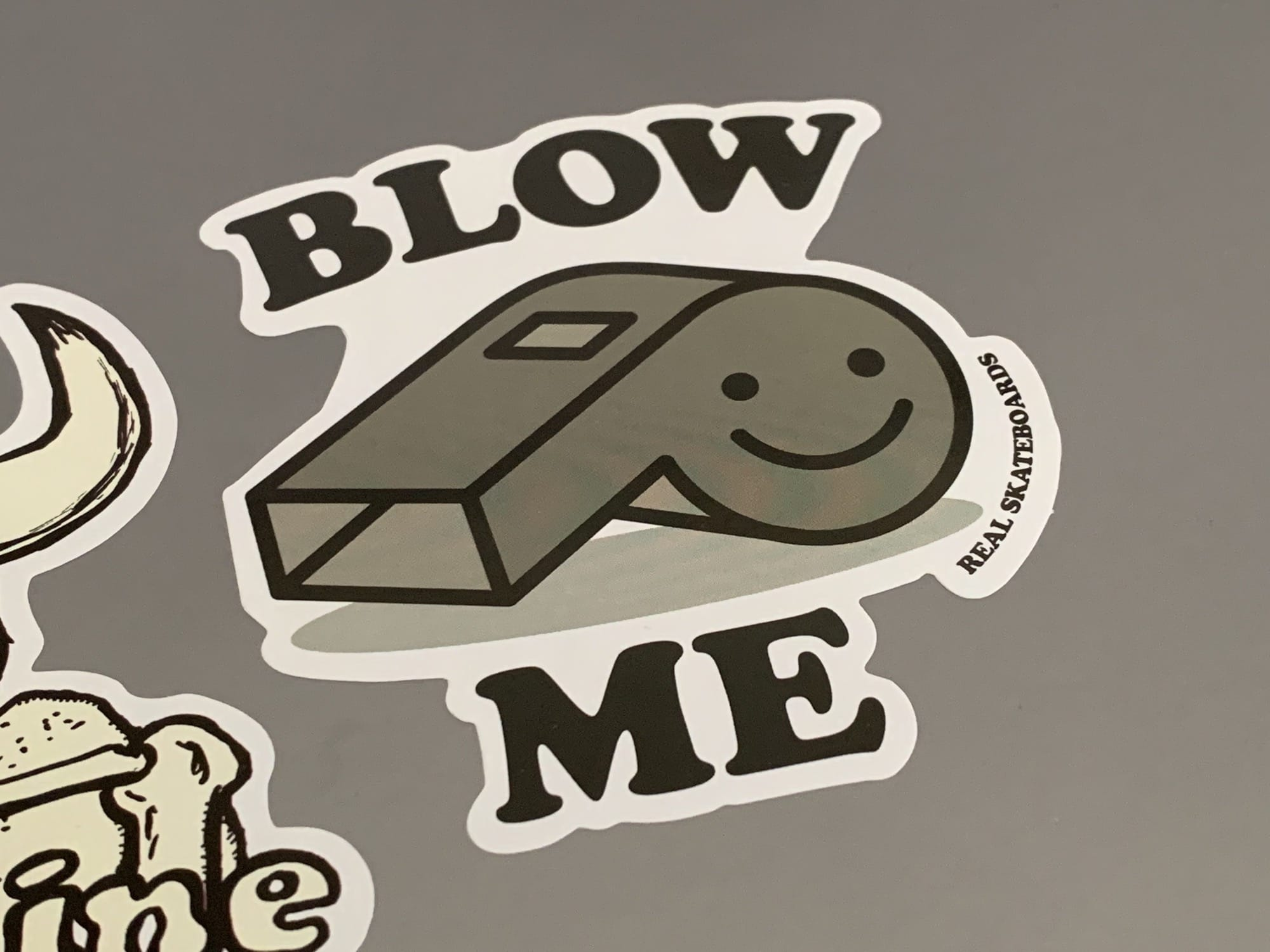 Real Skateboards Blow Me sticker is not the most subtle statement.