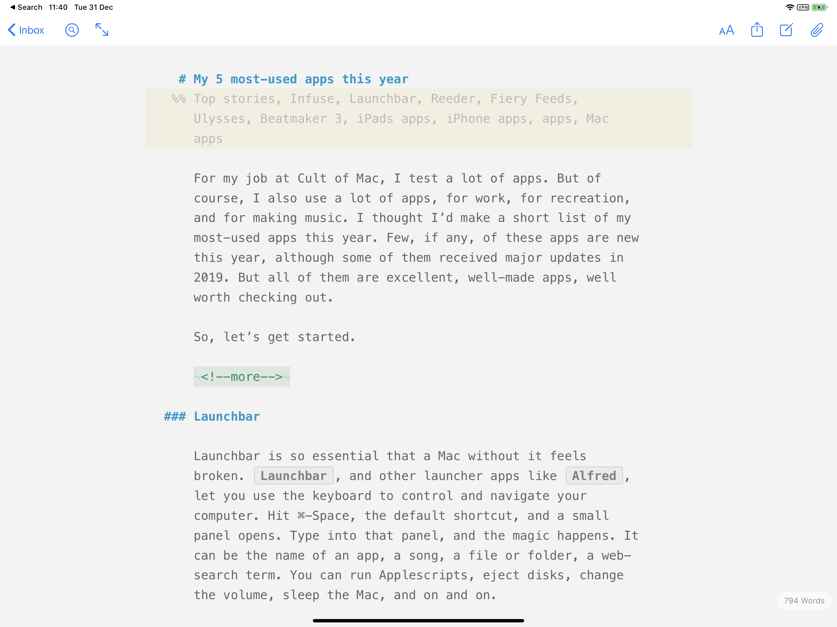 Ulysses may be the best text-editing app on any platform.