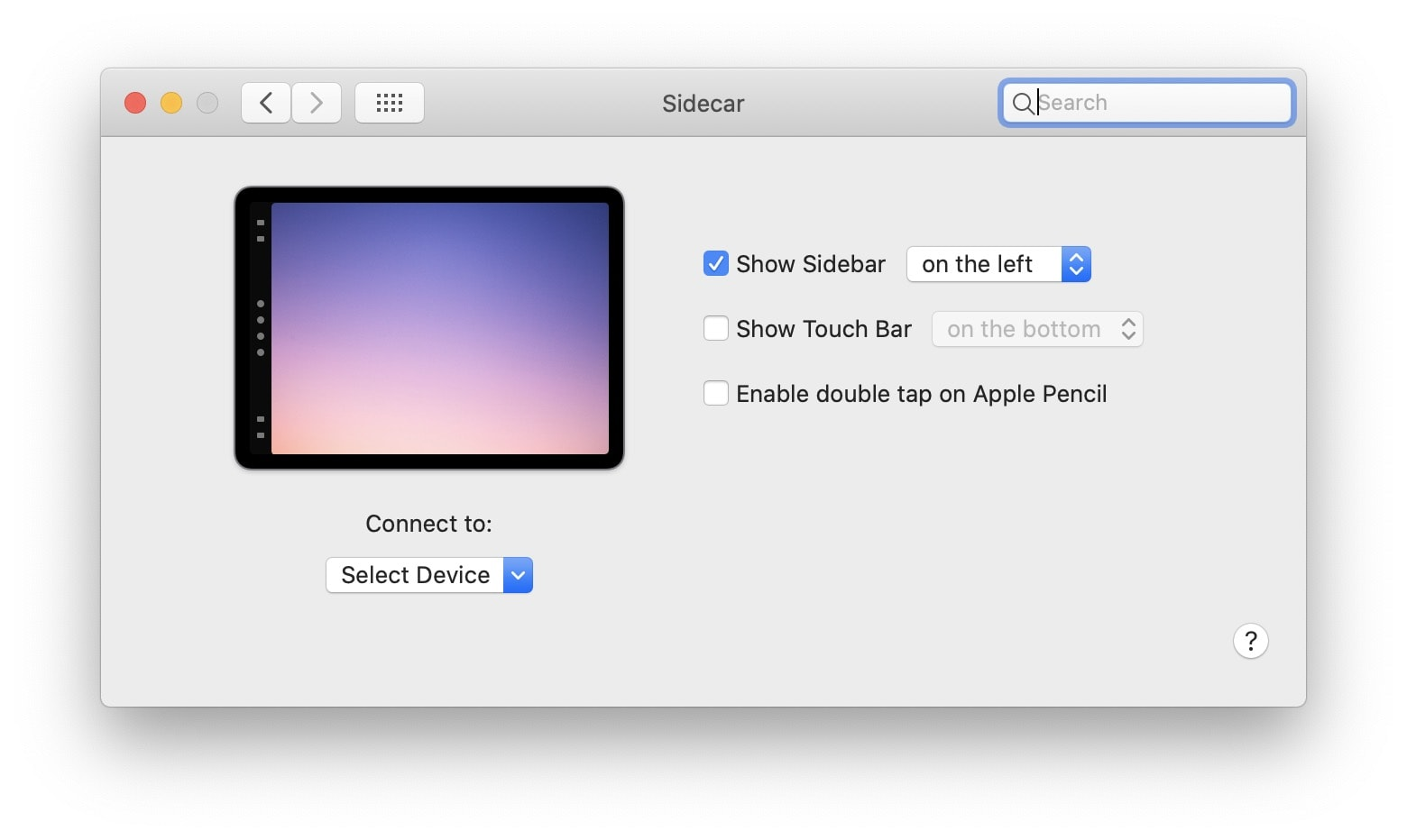 The Mac's Sidecar preferences.