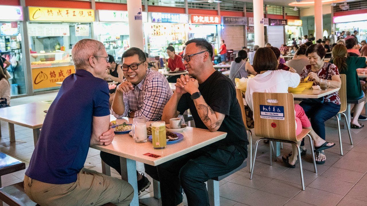 Tim Cook visits local food market for breakfast in Singapore