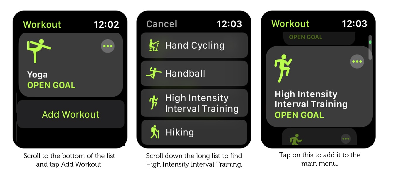 Where to find the HIIT workout option on Apple Watch