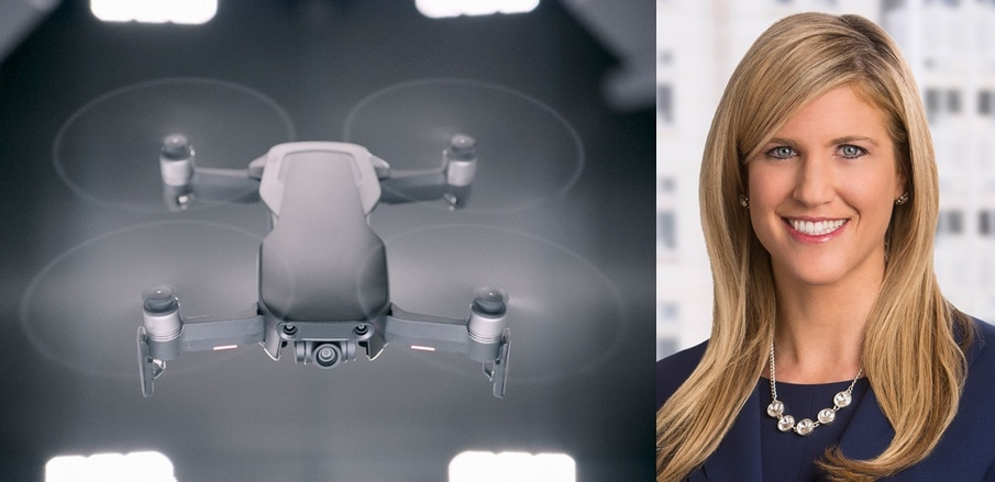 Apple lobbyist Lisa Ellman with the DJI Mavic Air Drone