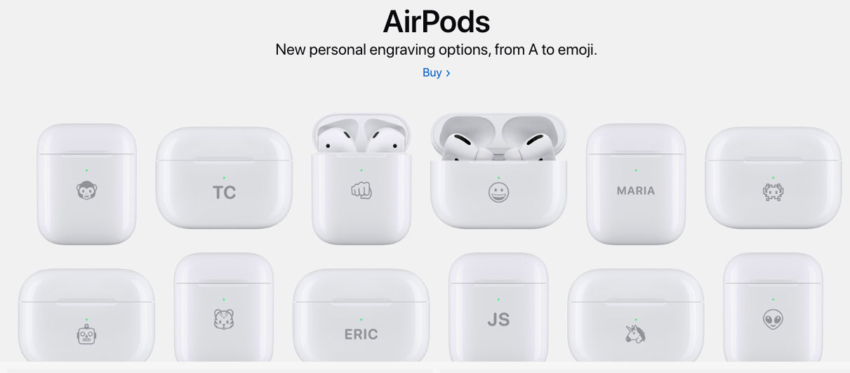Apple's free engraving of AirPods