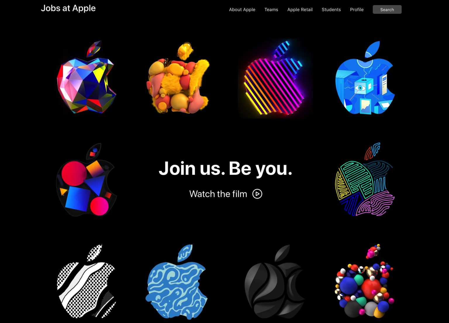 Apple gives its hiring page a colorful overhaul -- and a renewed focus on AI