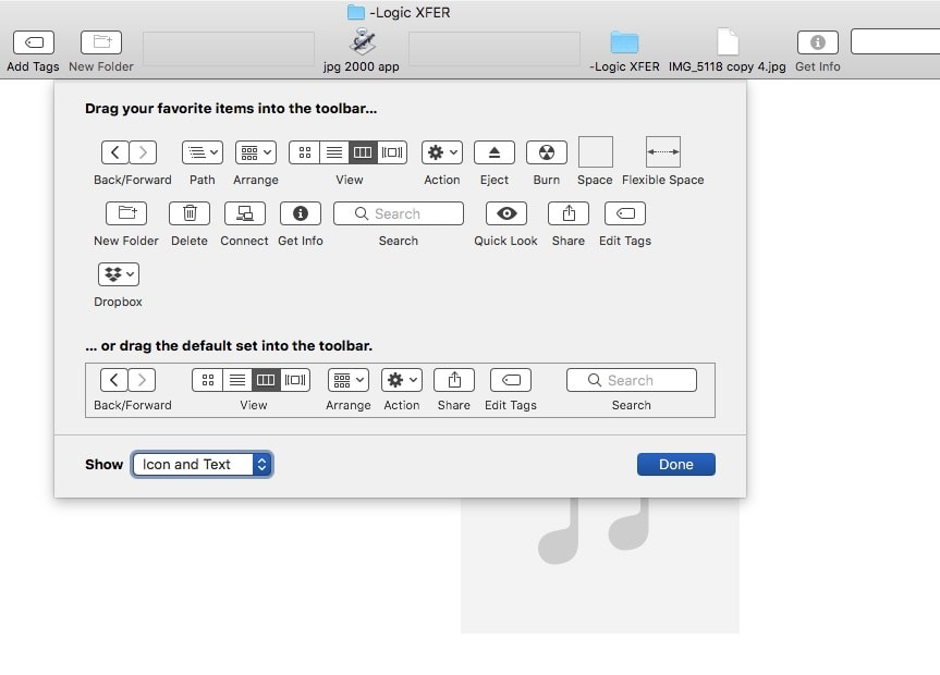 Customize the Finder's toolbar.