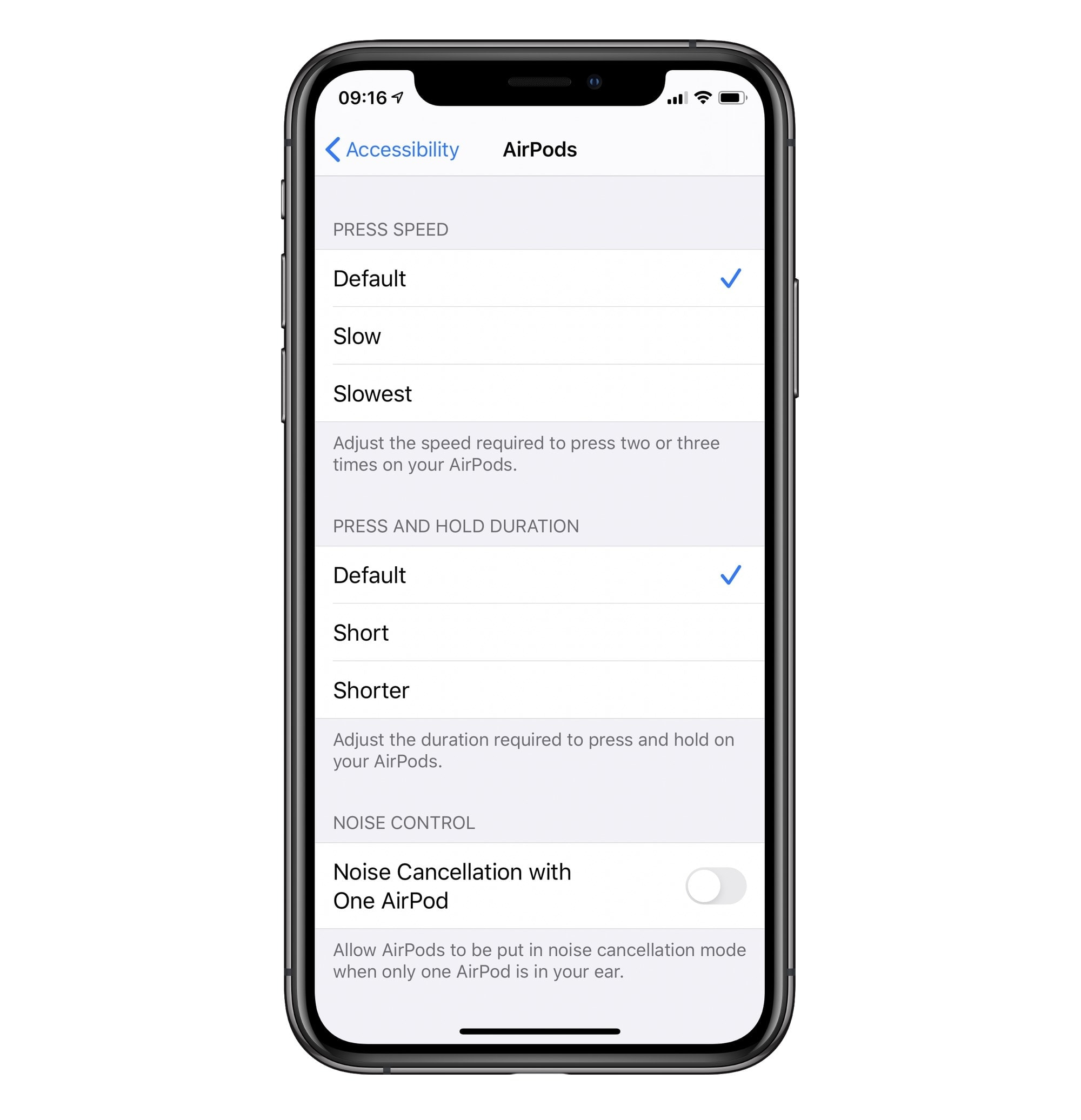 You can fine-tune the AirPods Pro gestures in the Accessibility settings.