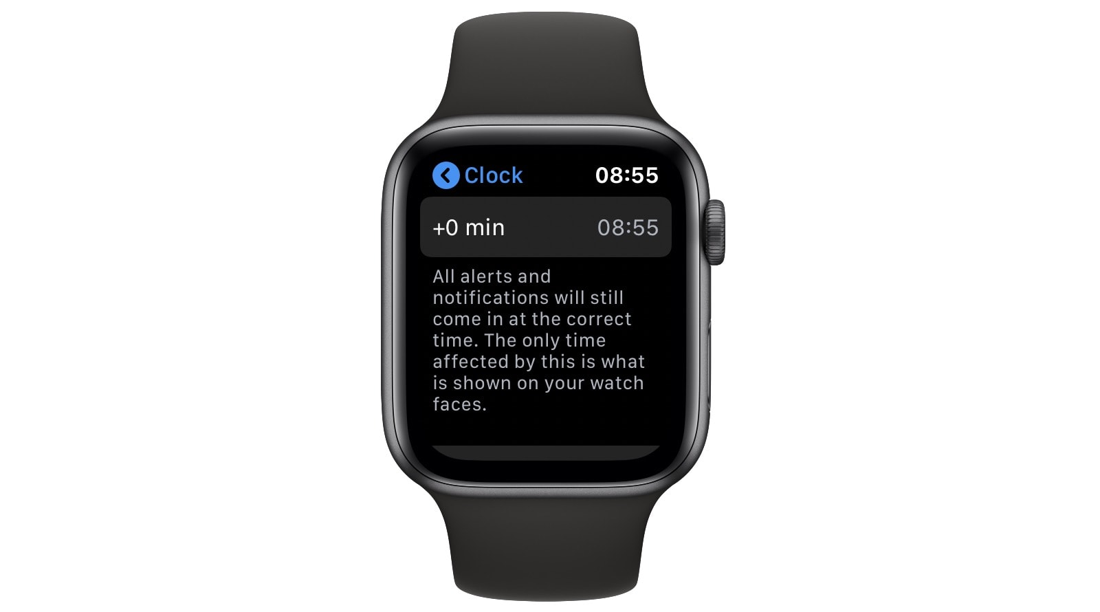 The Apple Watch's clock settings.