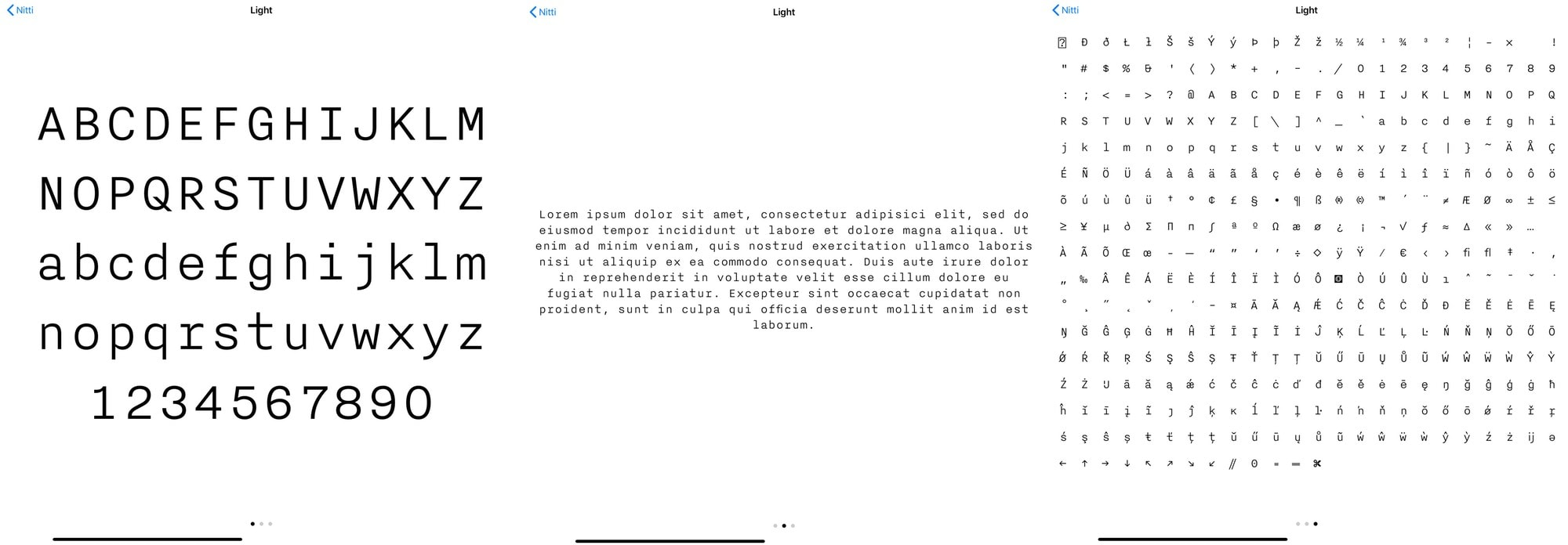 In iOS, there are three kinds of font preview.