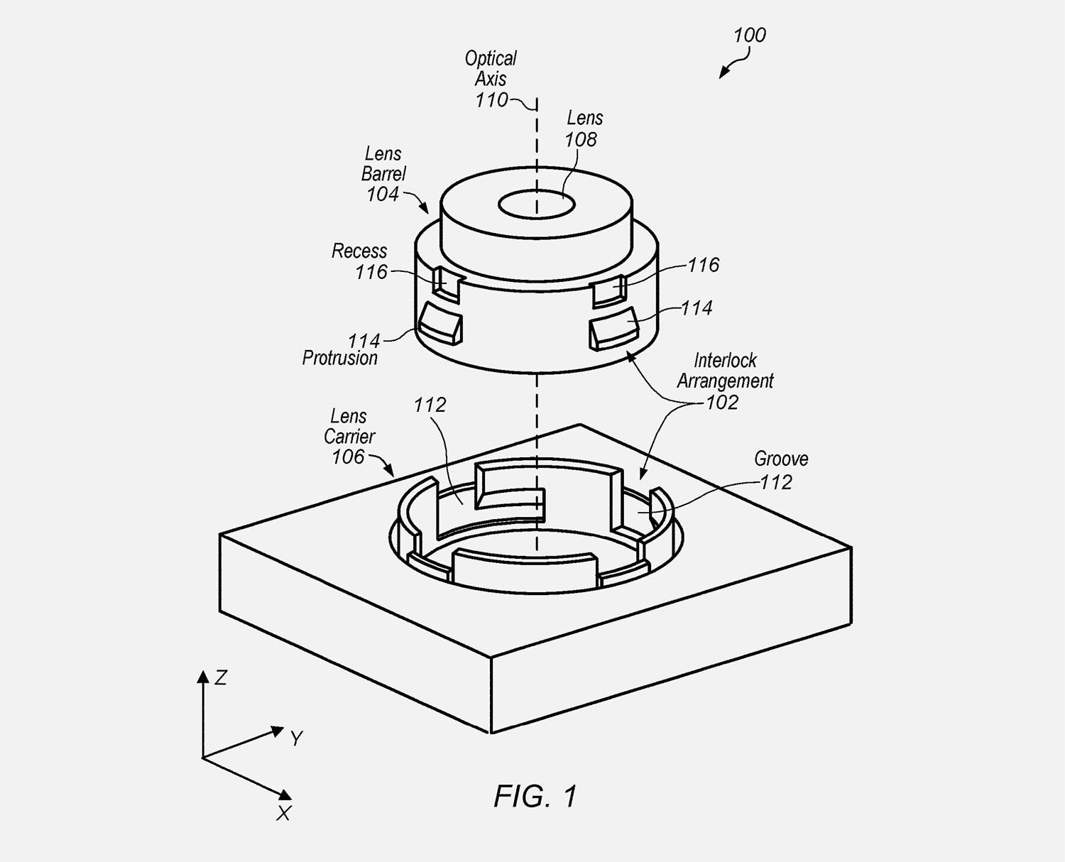 patent illustration for iPhone lens mount