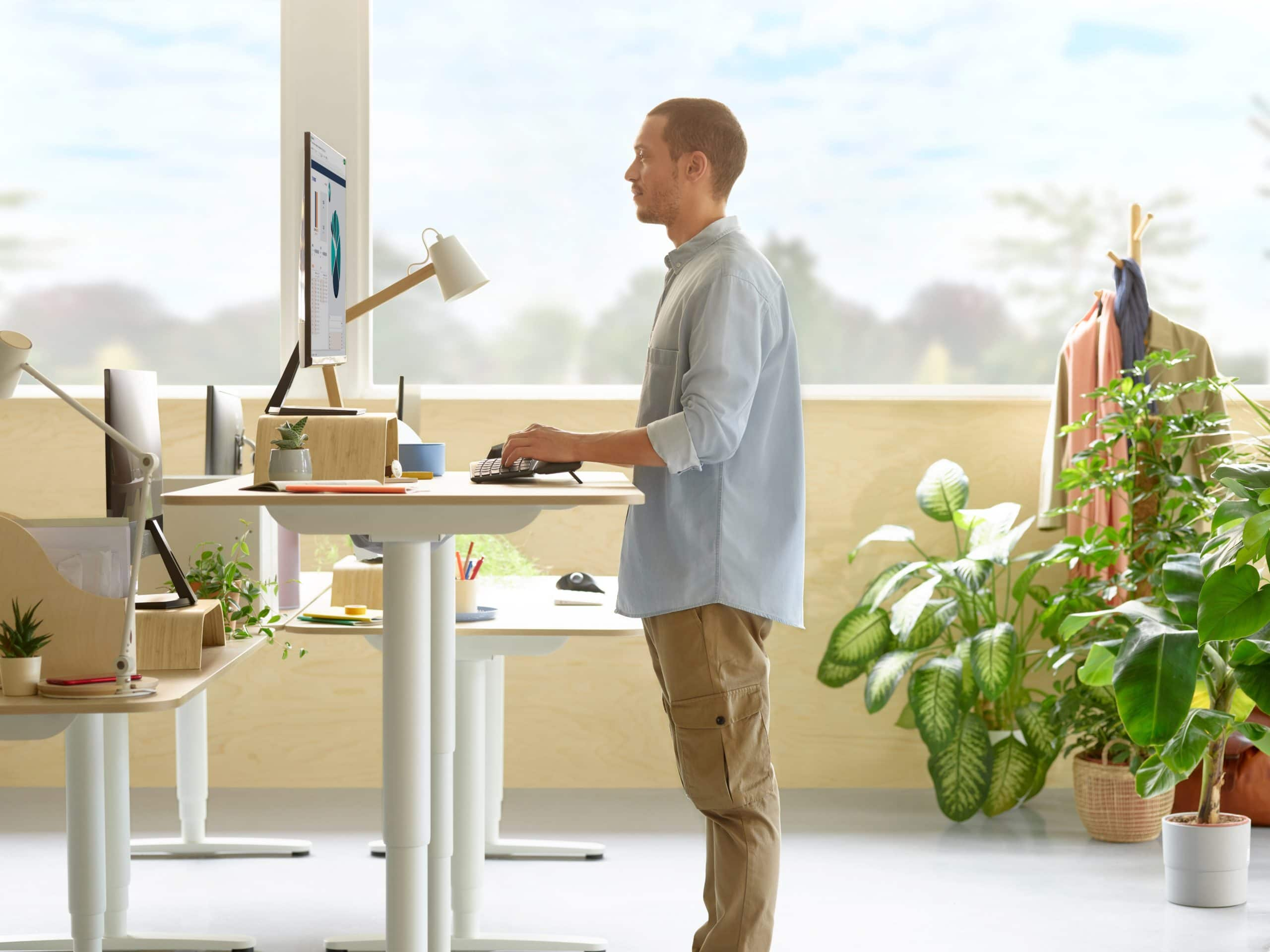 You can adjust the height of the front of the Logitech Ergo K860 keyboard to optimize your wrist position at a standing desk.
