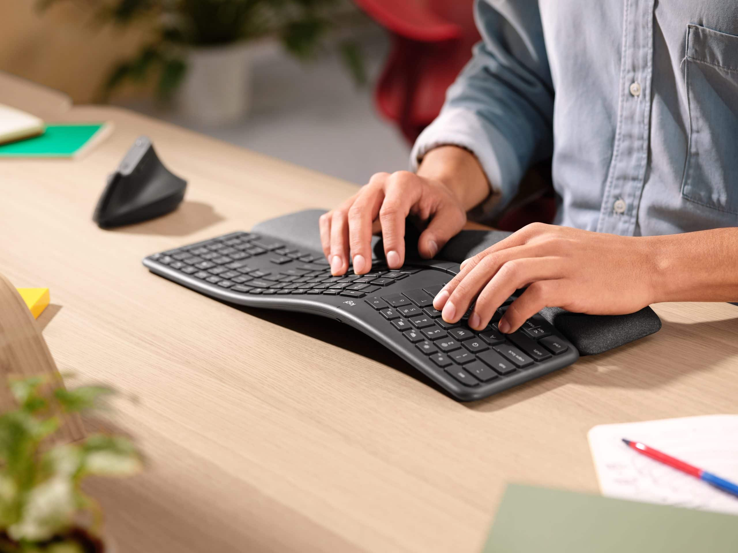 With an ergonomic split design and a fancy wrist rest, the Logitech Ergo K860 keyboard delivers comfortable typing.