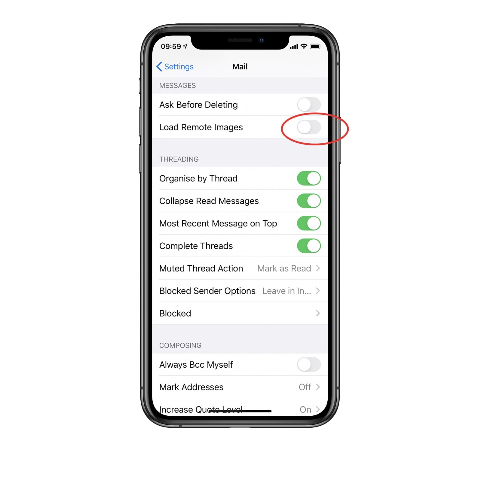 Here's how to block remote images, and thus disable read receipts, in Mail on iOS.