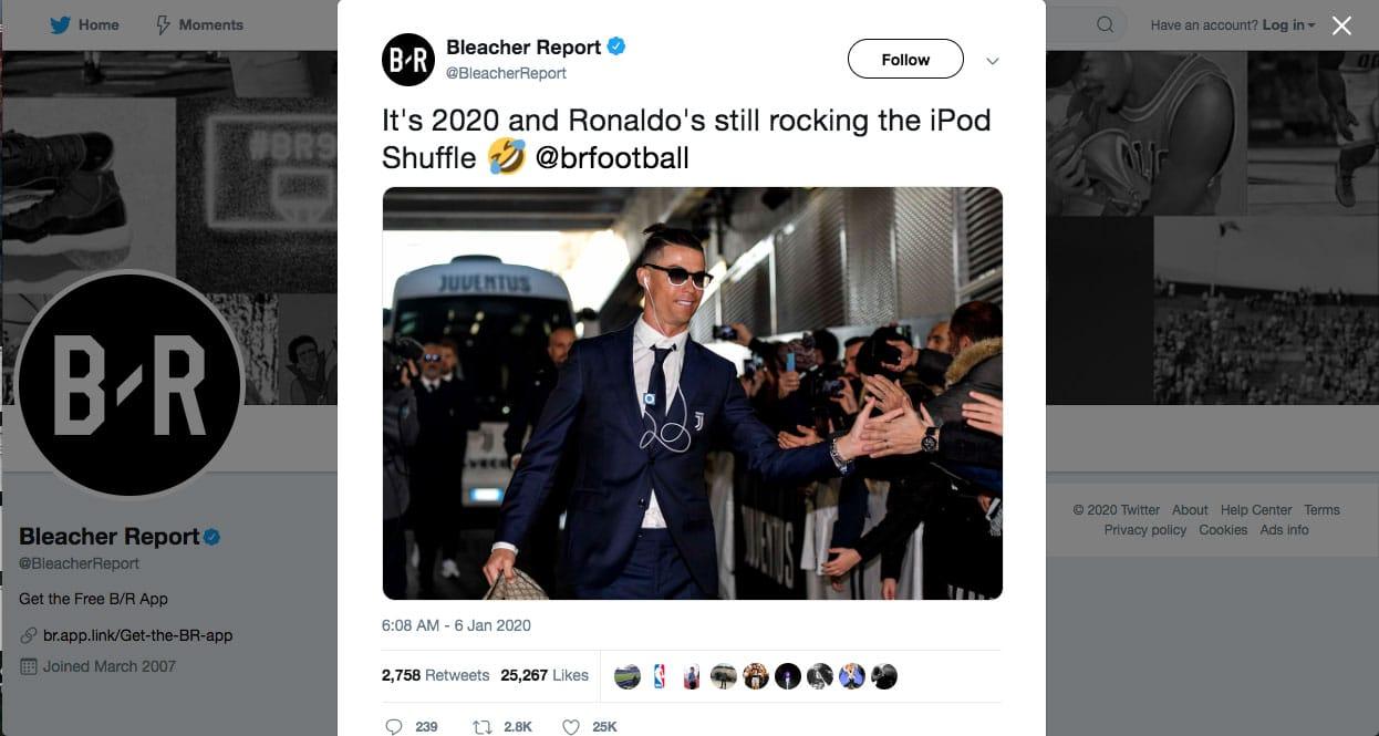 soccer star Ronaldo and his iPod Shuffle