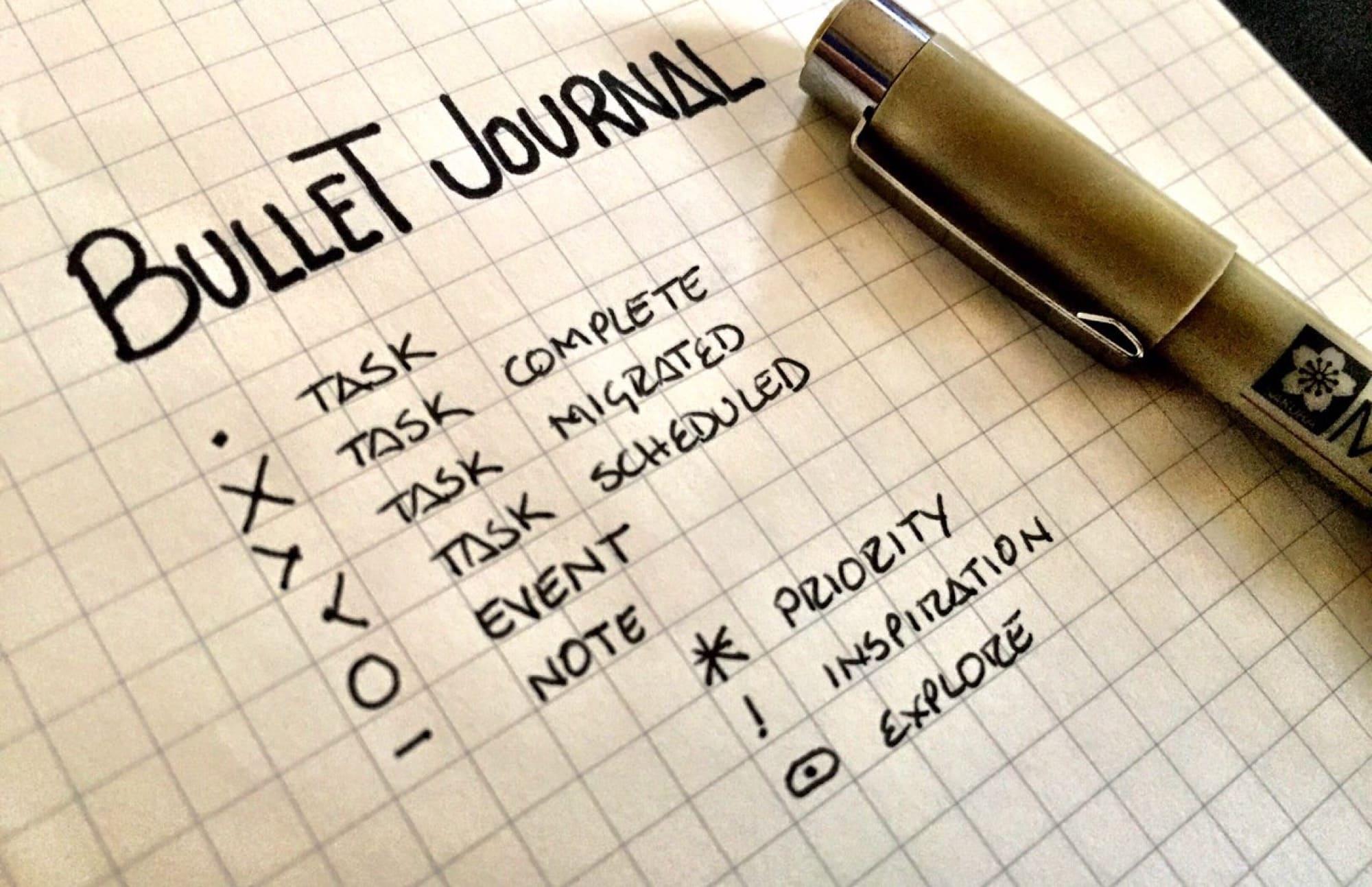 The bullets in Bullet Journal.