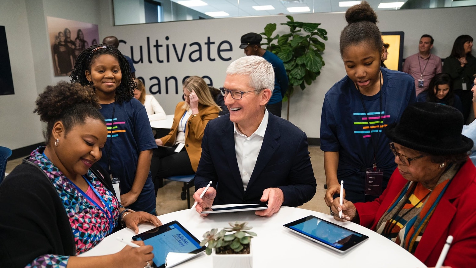 Apple CEO Tim Cook at the launch of Ed Farm in Birmingham.