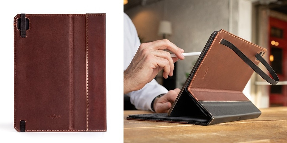 A Pad & Quill leather folio has an over-size camera opening.