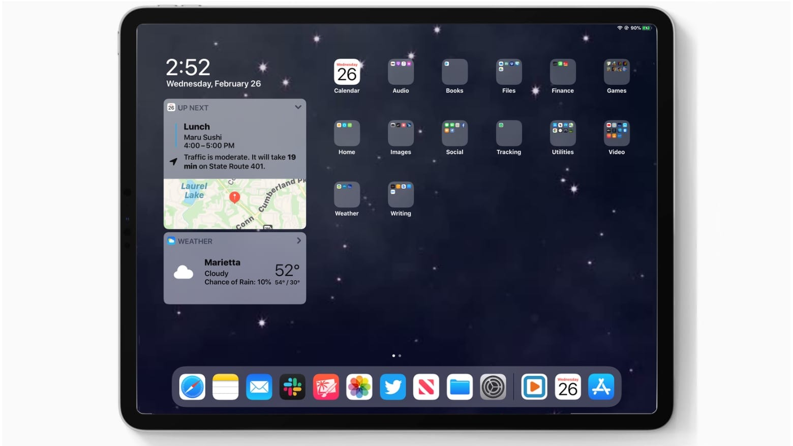 iPadOS 13.4 includes an improved Up Next home screen widget.