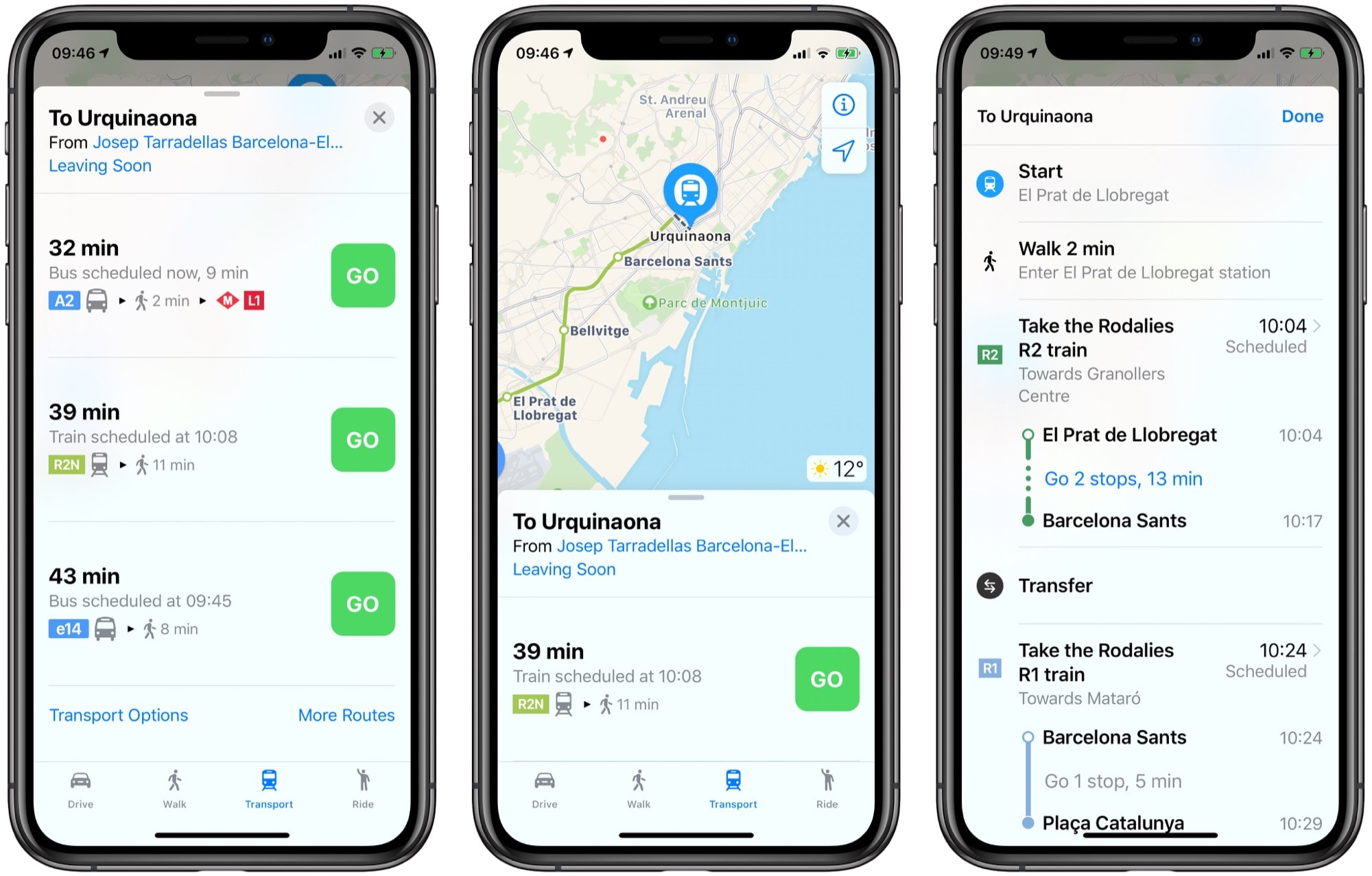 Apple Maps transit info is rich, detailed and not hidden behind a menu.