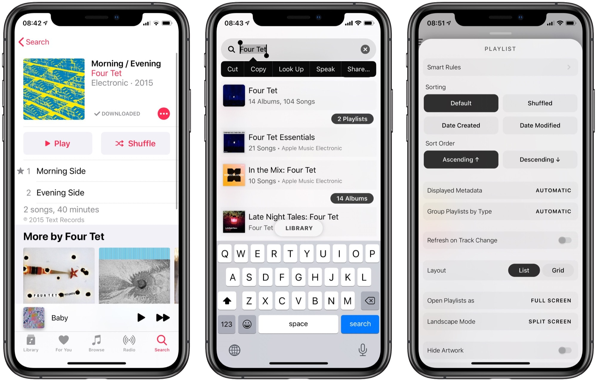 Apple Music search, Marvis search, and customizable views.