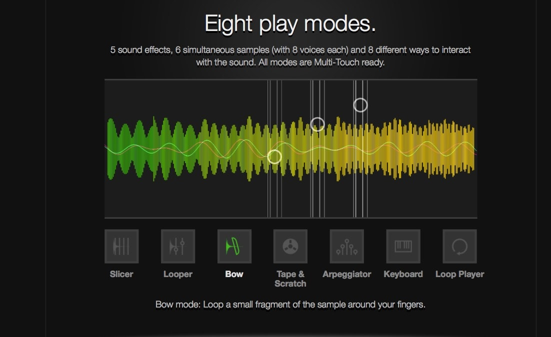 Samplr music app offers eight play modes, and all of them good.