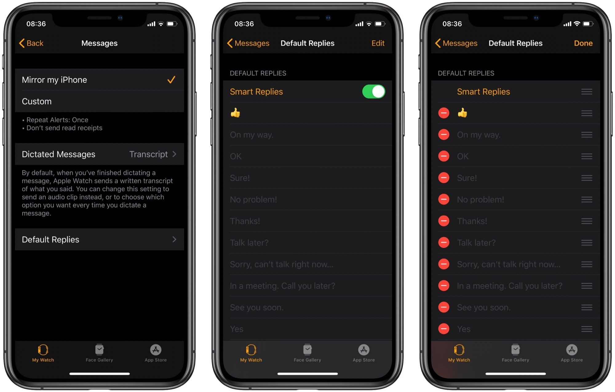 Add, remove and edit Apple Watch smart replies here.