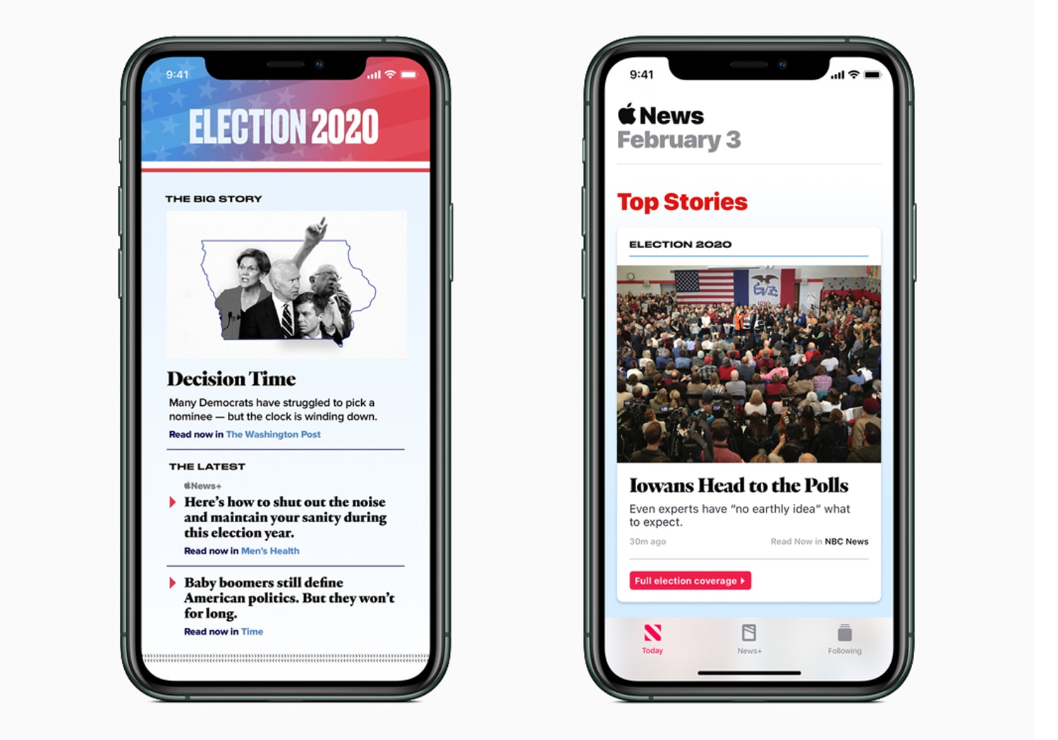 iPhone screenshot of Apple News 2020 election section.