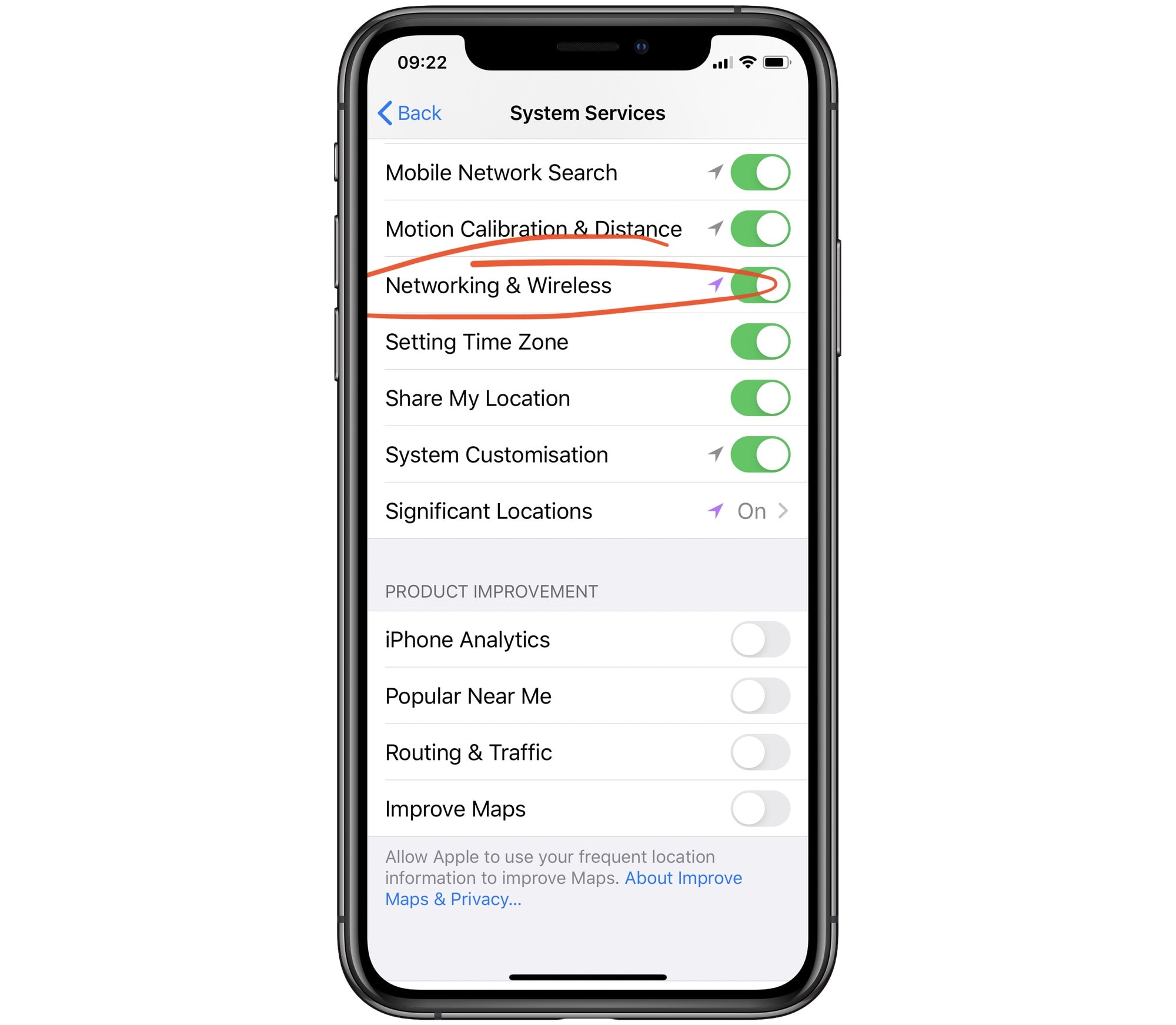 Disable location tracking for all network features.